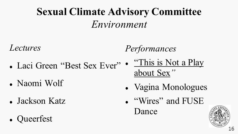 "Sexual Climate Advisory Committee Environment Lectures Laci Green ""Best Sex Ever"" Naomi Wolf Jackson Katz Queerfest 16 Performances ""This is Not a Pla"