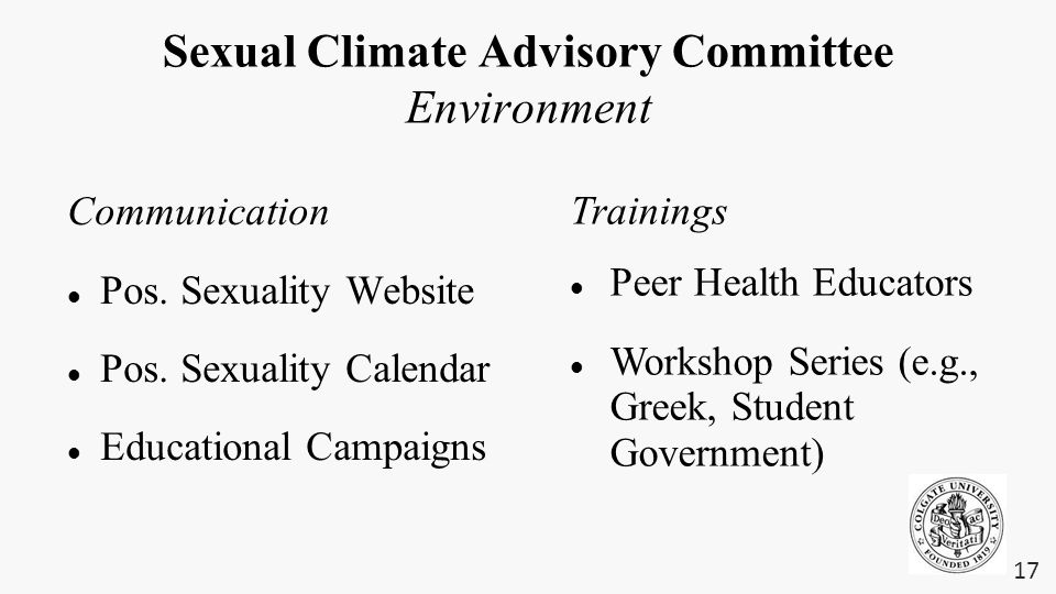 Sexual Climate Advisory Committee Environment Communication Pos.