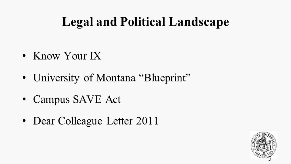 Legal and Political Landscape Know Your IX University of Montana Blueprint Campus SAVE Act Dear Colleague Letter 2011 5