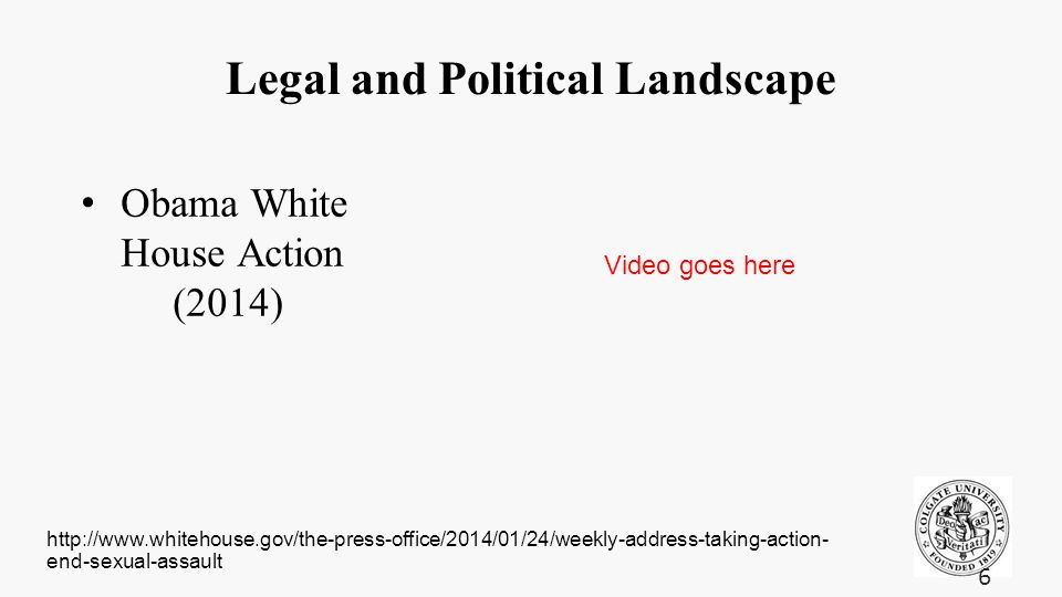 Legal and Political Landscape Obama White House Action (2014) 6 http://www.whitehouse.gov/the-press-office/2014/01/24/weekly-address-taking-action- en