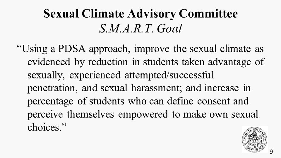 "Sexual Climate Advisory Committee S.M.A.R.T. Goal ""Using a PDSA approach, improve the sexual climate as evidenced by reduction in students taken advan"