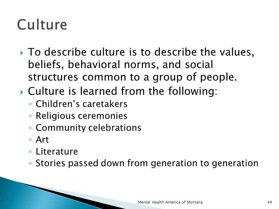  To describe culture is to describe the values, beliefs, behavioral norms, and social structures common to a group of people.