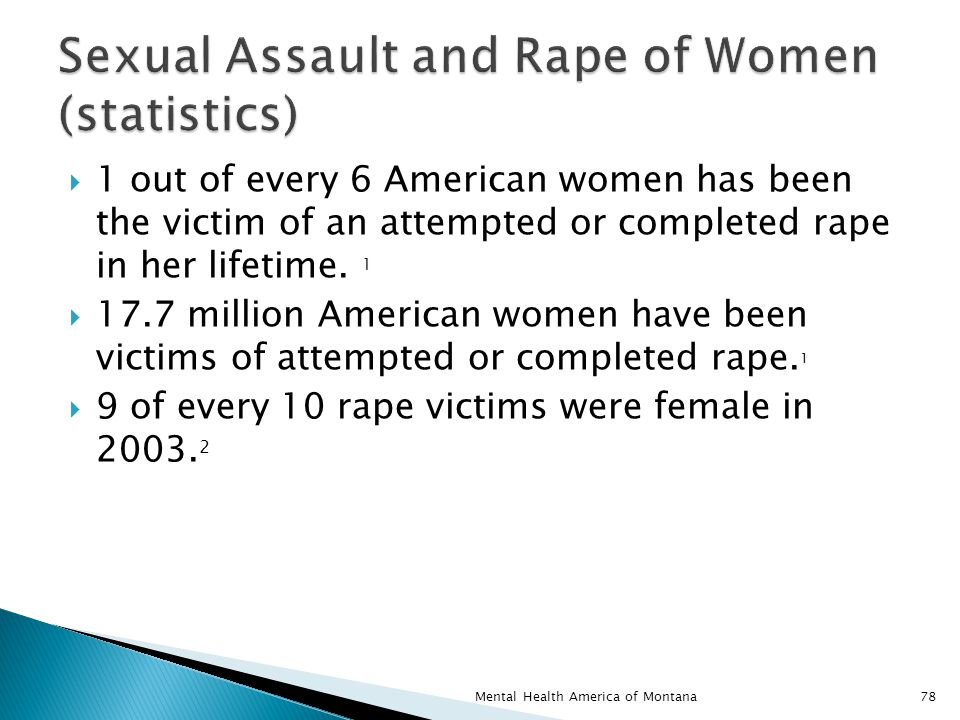  1 out of every 6 American women has been the victim of an attempted or completed rape in her lifetime.