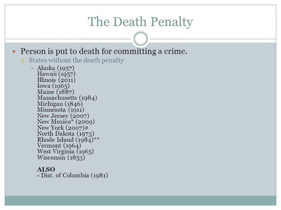 The Death Penalty Person is put to death for committing a crime.  States without the death penalty  Alaska (1957) Hawaii (1957) Illinois (2011) Iowa
