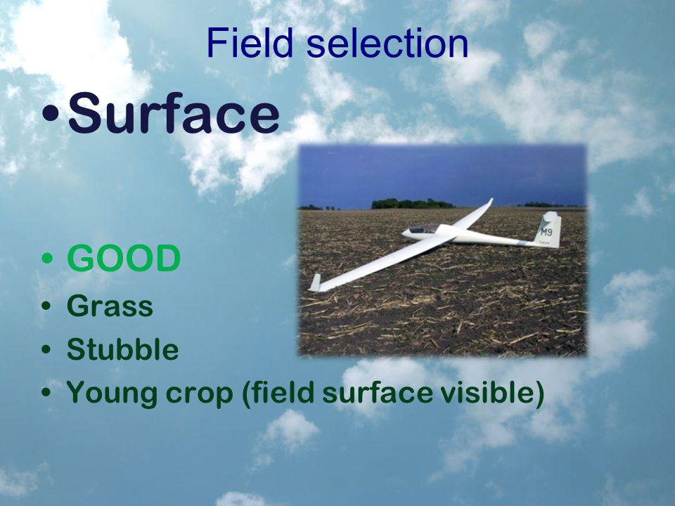 Field selection Surface GOOD Grass Stubble Young crop (field surface visible)