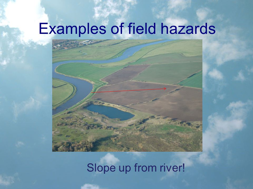 Examples of field hazards Slope up from river!