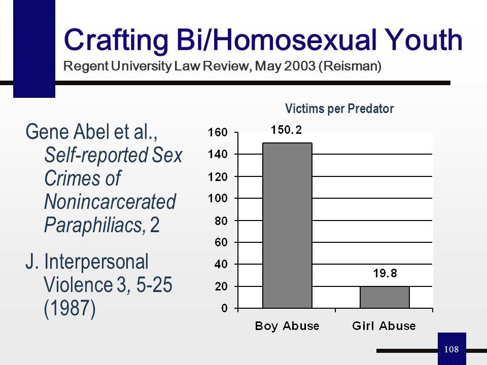 107 28% Same Sex Educator Sexual Misconduct? 4.5 million students (1/10)