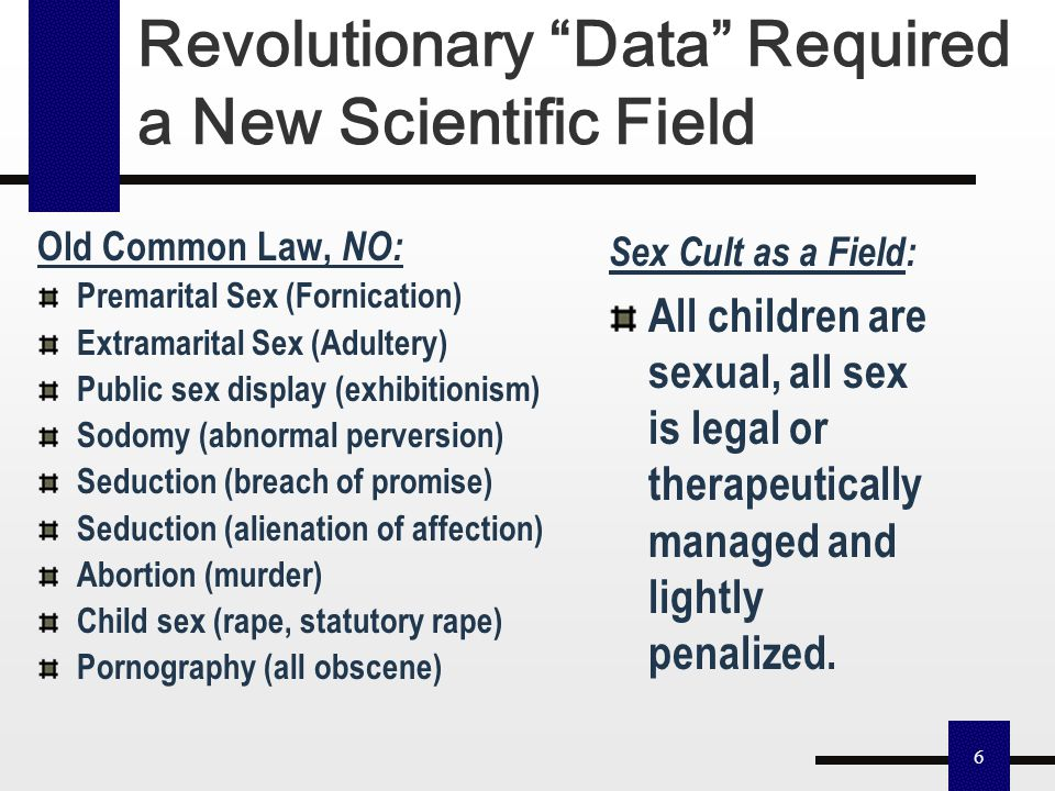 """5 """"Research on human sexuality...can be divided somewhat crudely into the pre-Kinsey and post-Kinsey eras."""" Pre-Kinsey Era Common Law Based on Biblica"""