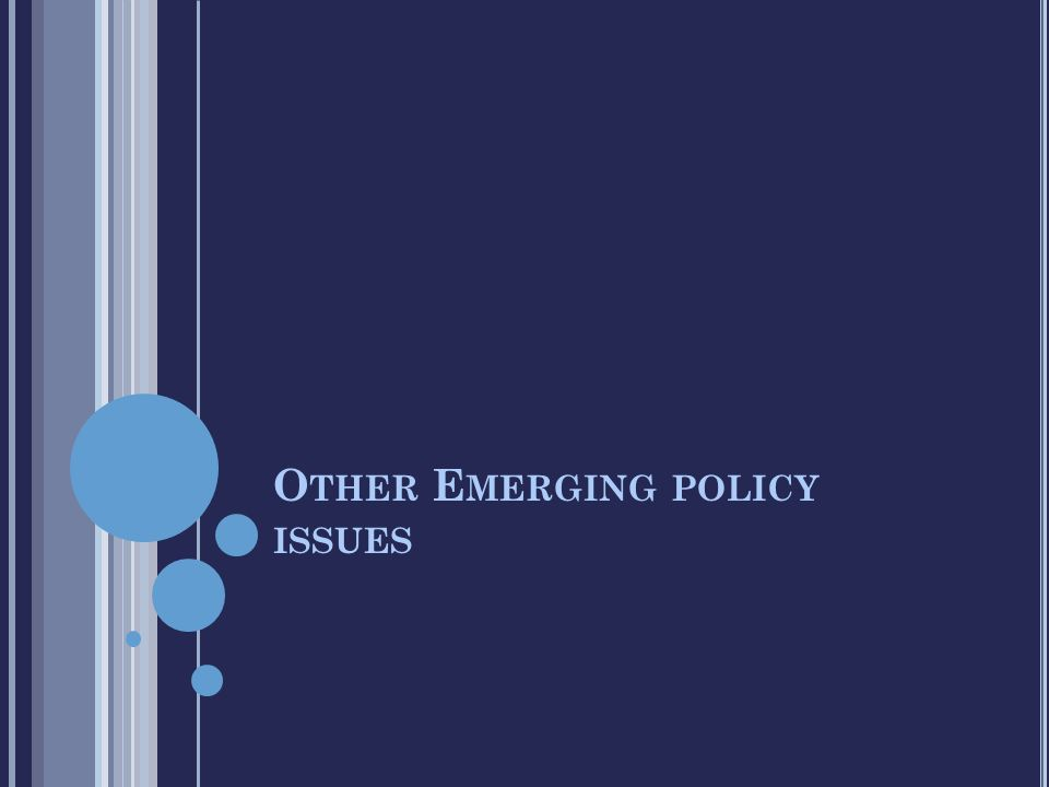 O THER E MERGING POLICY ISSUES