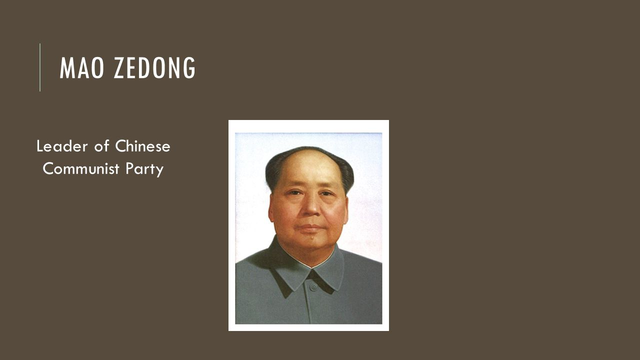 MAO ZEDONG Leader of Chinese Communist Party