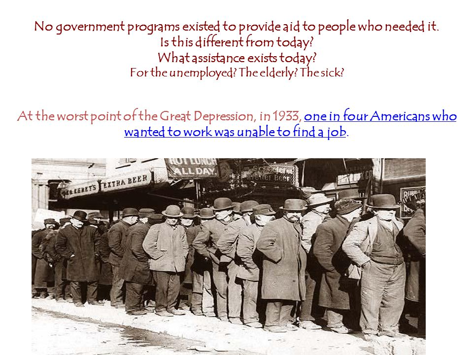 No government programs existed to provide aid to people who needed it.