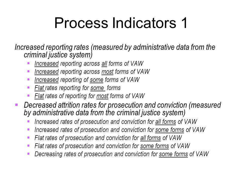 Process Indicators 1 Increased reporting rates (measured by administrative data from the criminal justice system)  Increased reporting across all for
