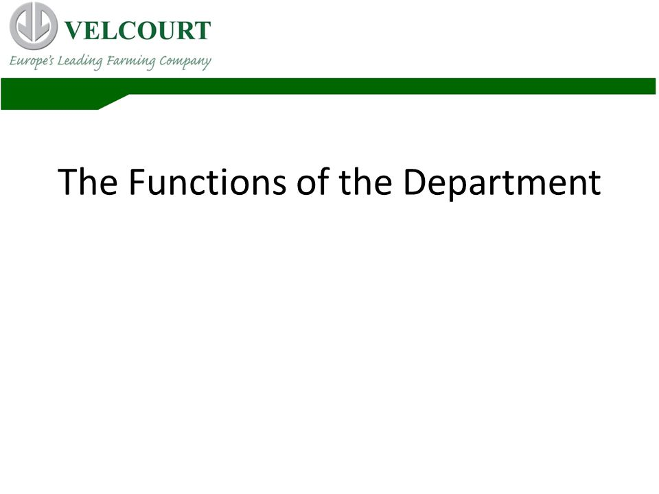 The Functions of the Department