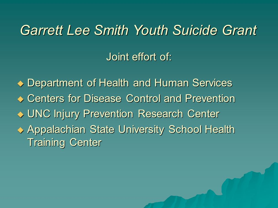 Joint effort of:  Department of Health and Human Services  Centers for Disease Control and Prevention  UNC Injury Prevention Research Center  Appalachian State University School Health Training Center Garrett Lee Smith Youth Suicide Grant