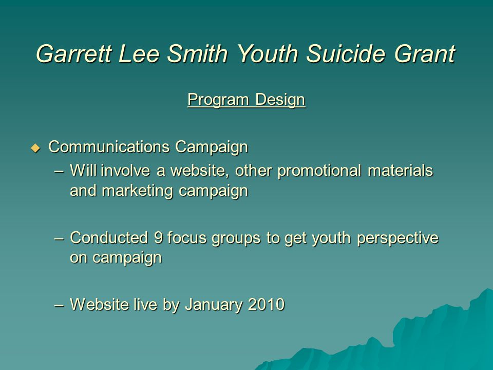Garrett Lee Smith Youth Suicide Grant Program Design  Communications Campaign –Will involve a website, other promotional materials and marketing campaign –Conducted 9 focus groups to get youth perspective on campaign –Website live by January 2010