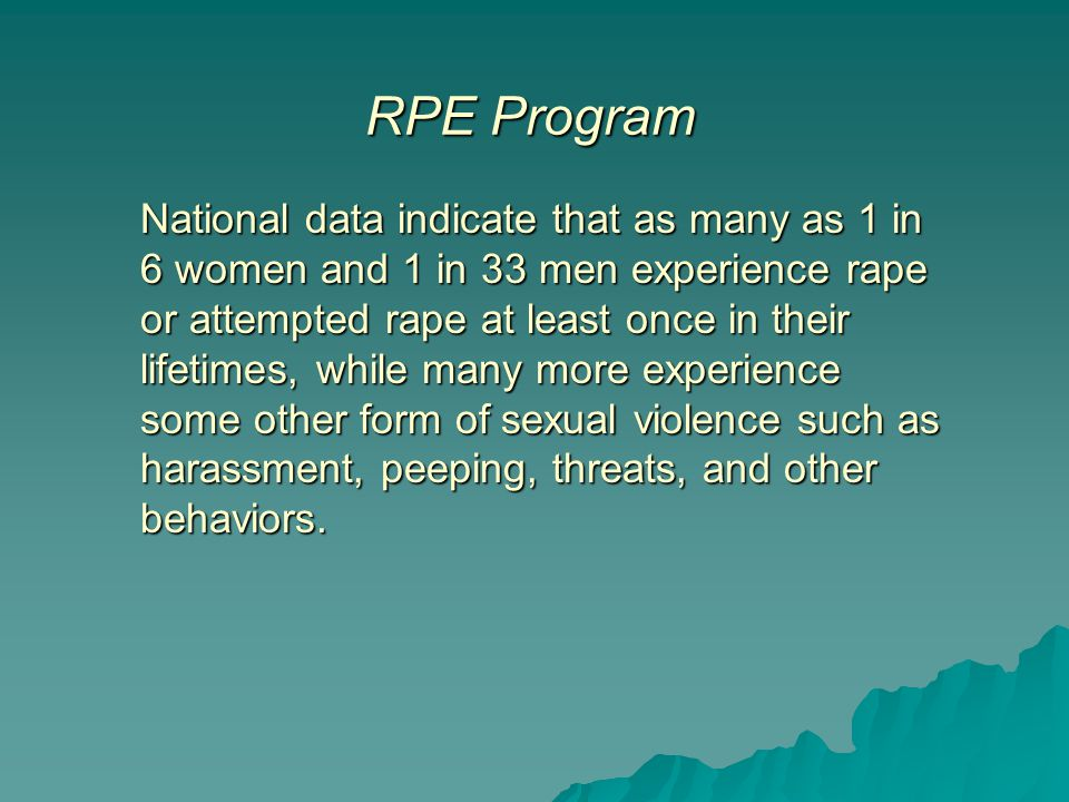 National data indicate that as many as 1 in 6 women and 1 in 33 men experience rape or attempted rape at least once in their lifetimes, while many mor