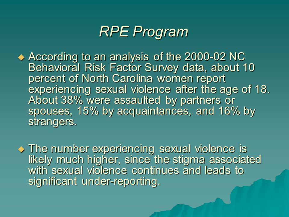  According to an analysis of the 2000-02 NC Behavioral Risk Factor Survey data, about 10 percent of North Carolina women report experiencing sexual v
