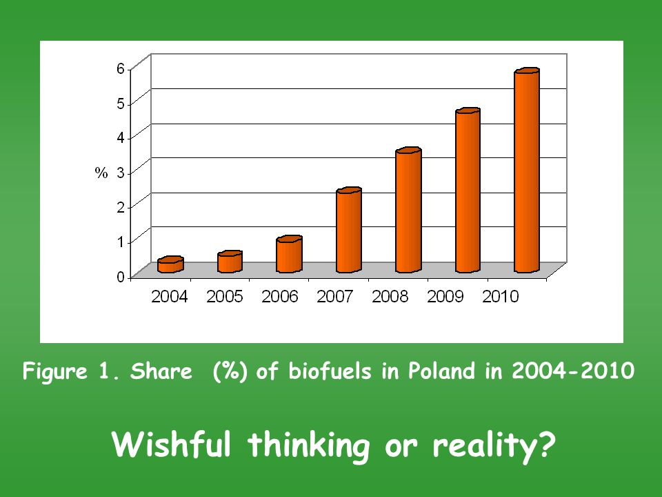 Figure 1. Share (%) of biofuels in Poland in 2004-2010 Wishful thinking or reality