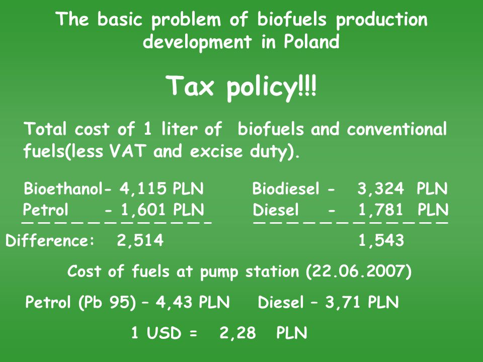 The basic problem of biofuels production development in Poland Tax policy!!.