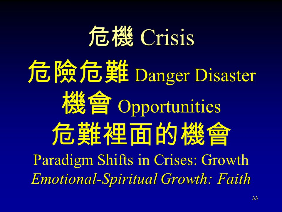 33 危機 Crisis 危險危難 Danger Disaster 機會 O pportunities 危難裡面的機會 Paradigm Shifts in Crises: Growth Emotional-Spiritual Growth: Faith
