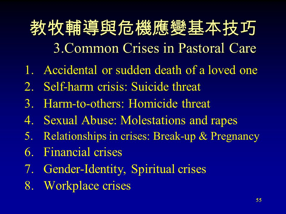 55 教牧輔導與危機應變基本技巧 3.Common Crises in Pastoral Care 1.Accidental or sudden death of a loved one 2.Self-harm crisis: Suicide threat 3.Harm-to-others: Homicide threat 4.Sexual Abuse: Molestations and rapes 5.Relationships in crises: Break-up & Pregnancy 6.Financial crises 7.Gender-Identity, Spiritual crises 8.Workplace crises