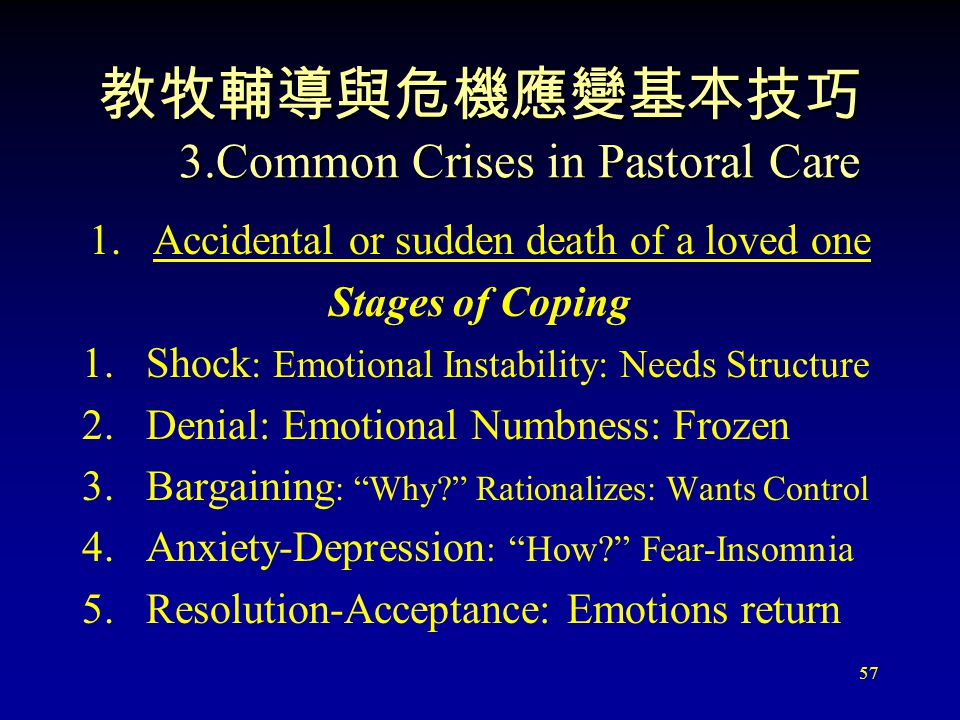 57 教牧輔導與危機應變基本技巧 3.Common Crises in Pastoral Care 1.Accidental or sudden death of a loved one Stages of Coping 1.Shock : Emotional Instability: Needs Structure 2.Denial: Emotional Numbness: Frozen 3.Bargaining : Why? Rationalizes: Wants Control 4.Anxiety-Depression : How? Fear-Insomnia 5.Resolution-Acceptance: Emotions return