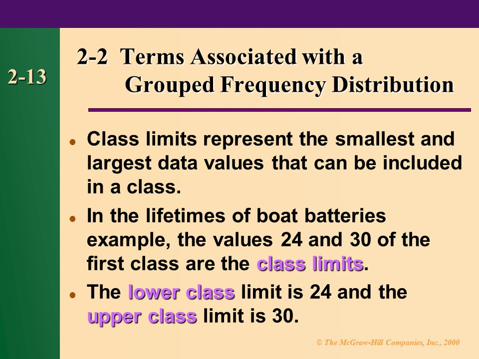 © The McGraw-Hill Companies, Inc., 2000 2-13 2-2 Terms Associated with a Grouped Frequency Distribution Class limits represent the smallest and largest data values that can be included in a class.