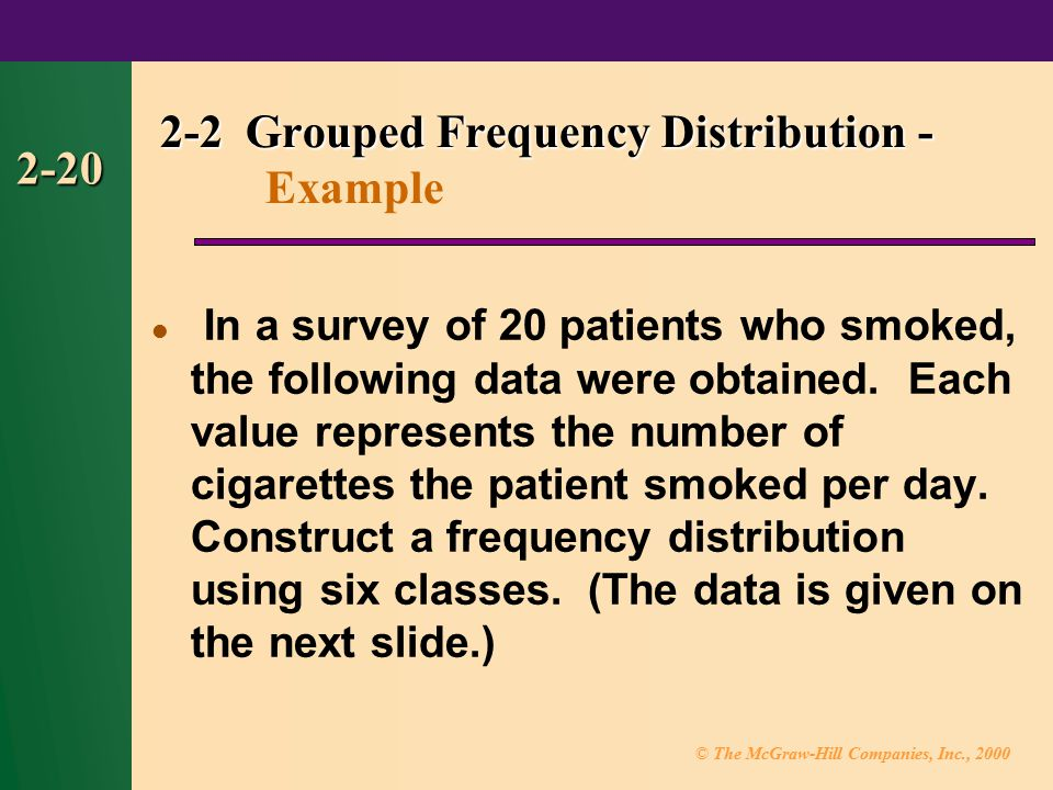 © The McGraw-Hill Companies, Inc., 2000 2-20 In a survey of 20 patients who smoked, the following data were obtained.