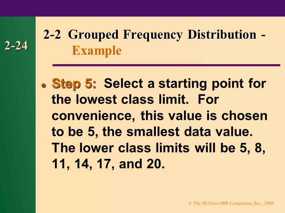 © The McGraw-Hill Companies, Inc., 2000 2-24 Step 5: Step 5: Select a starting point for the lowest class limit.