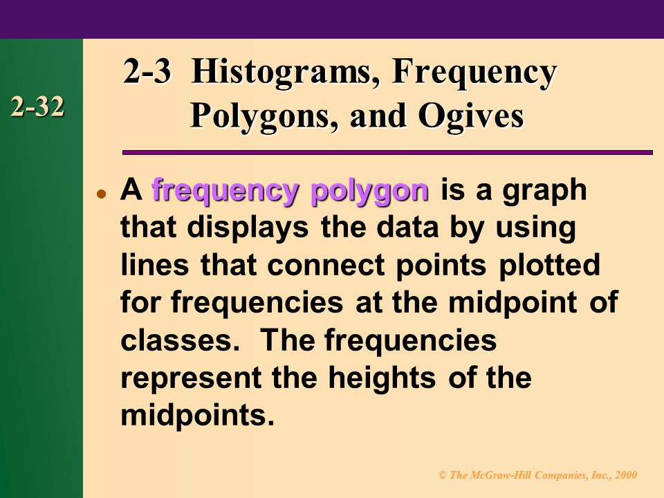 © The McGraw-Hill Companies, Inc., 2000 2-32 frequency polygon A frequency polygon is a graph that displays the data by using lines that connect points plotted for frequencies at the midpoint of classes.