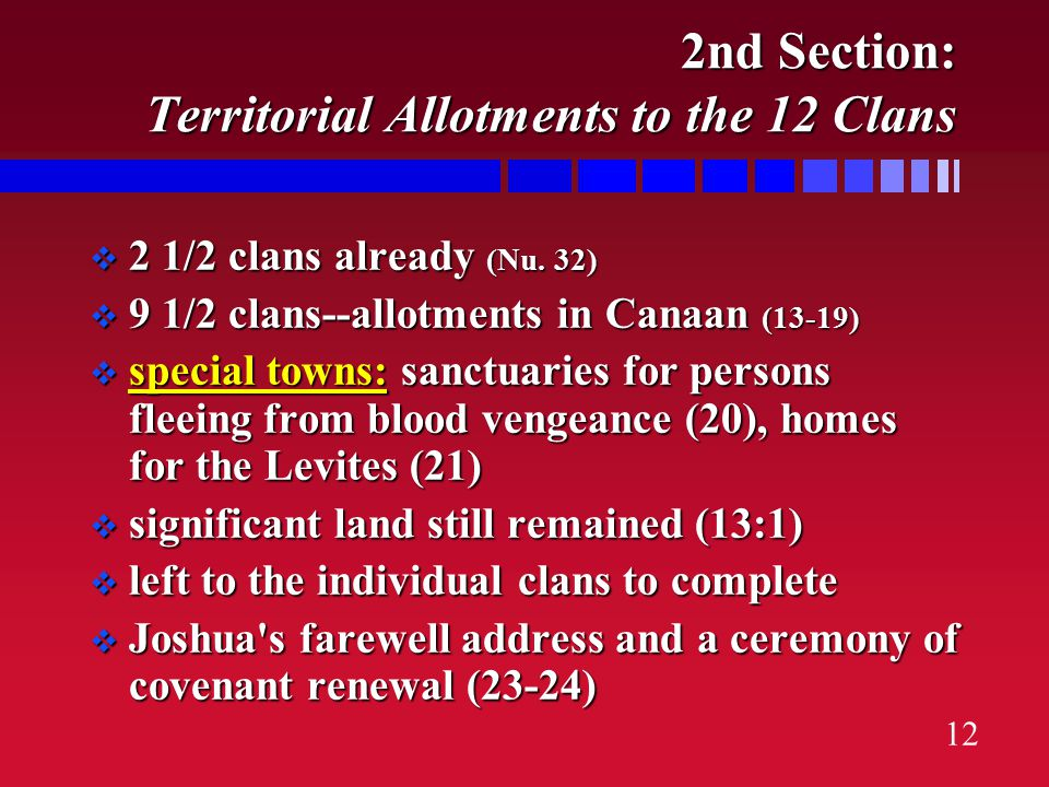 11 Strategy of Invasion: Divide & Conquer pushed thru central Canaan, dividing the north from the south pushed thru central Canaan, dividing the north from the south tricked into making a forbidden alliance w/one Canaanite group (9), but did not falter tricked into making a forbidden alliance w/one Canaanite group (9), but did not falter completed war campaigns in central, southern and northern Canaan respectively (10-12) completed war campaigns in central, southern and northern Canaan respectively (10-12)