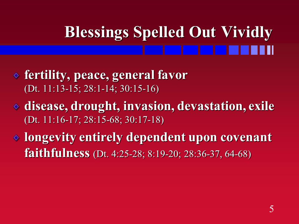 4 Covenant Blessings & Curses for Obedience & Disobedience faithful...blessings and success fell away...judged through the events of history, calling
