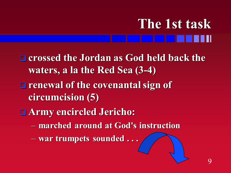 8 The 1st task  reconnoiter the initial military target, Jericho...