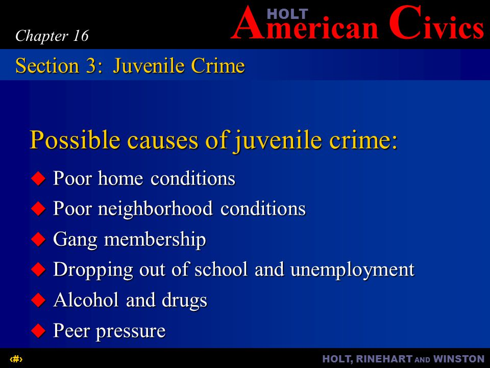 A merican C ivicsHOLT HOLT, RINEHART AND WINSTON14 Chapter 16 Possible causes of juvenile crime:  Poor home conditions  Poor neighborhood conditions  Gang membership  Dropping out of school and unemployment  Alcohol and drugs  Peer pressure Section 3:Juvenile Crime