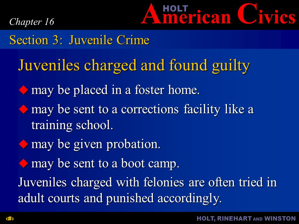 A merican C ivicsHOLT HOLT, RINEHART AND WINSTON17 Chapter 16 Juveniles charged and found guilty  may be placed in a foster home.