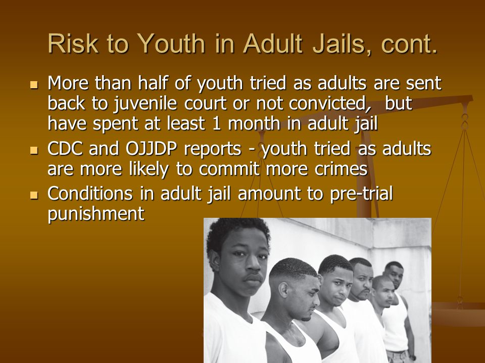 Risk to Youth in Adult Jails, cont. More than half of youth tried as adults are sent back to juvenile court or not convicted, but have spent at least