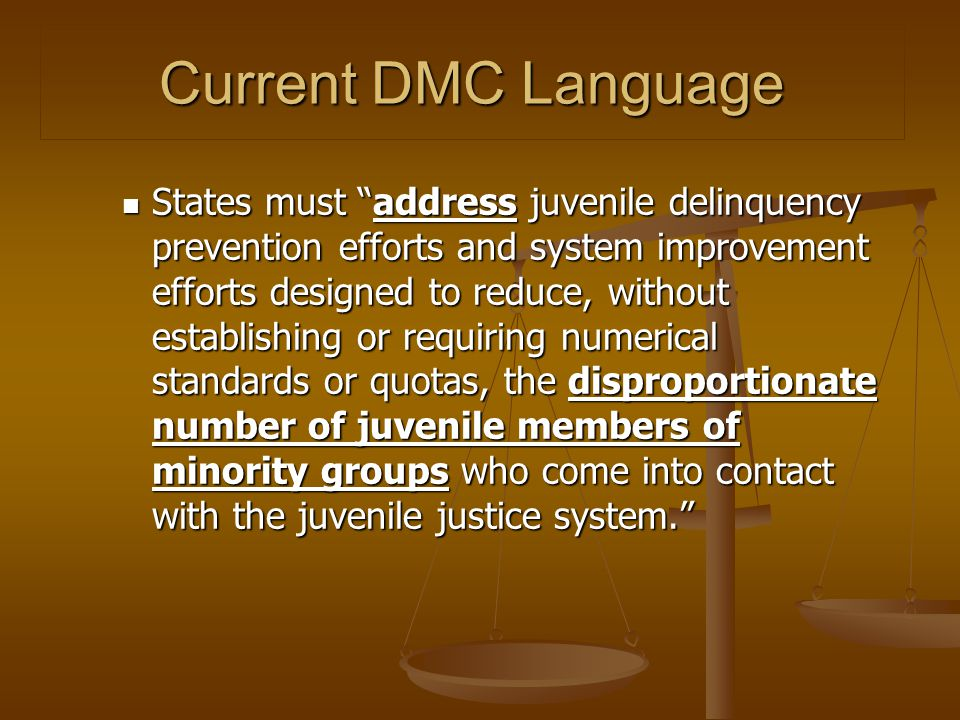 "Current DMC Language States must ""address juvenile delinquency prevention efforts and system improvement efforts designed to reduce, without establish"