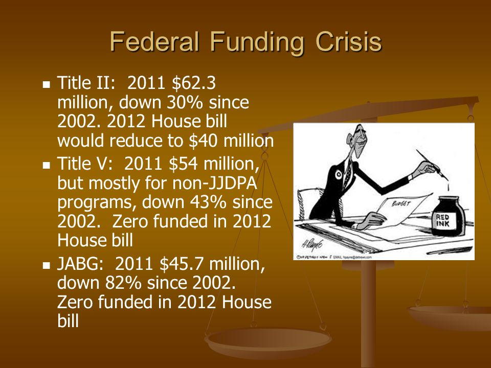 Federal Funding Crisis Title II: 2011 $62.3 million, down 30% since 2002. 2012 House bill would reduce to $40 million Title V: 2011 $54 million, but m