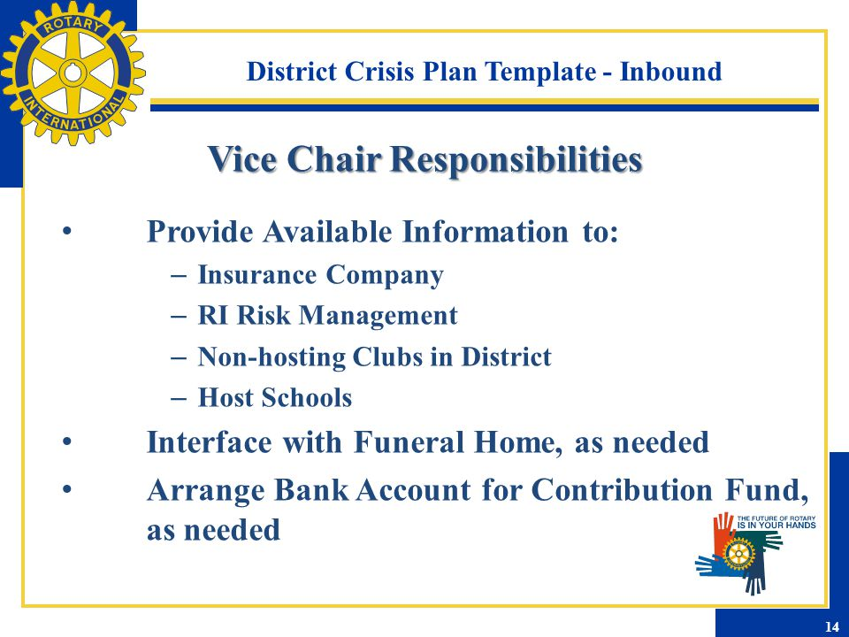 District Crisis Plan Template - Inbound Provide Available Information to: – Insurance Company – RI Risk Management – Non-hosting Clubs in District – H