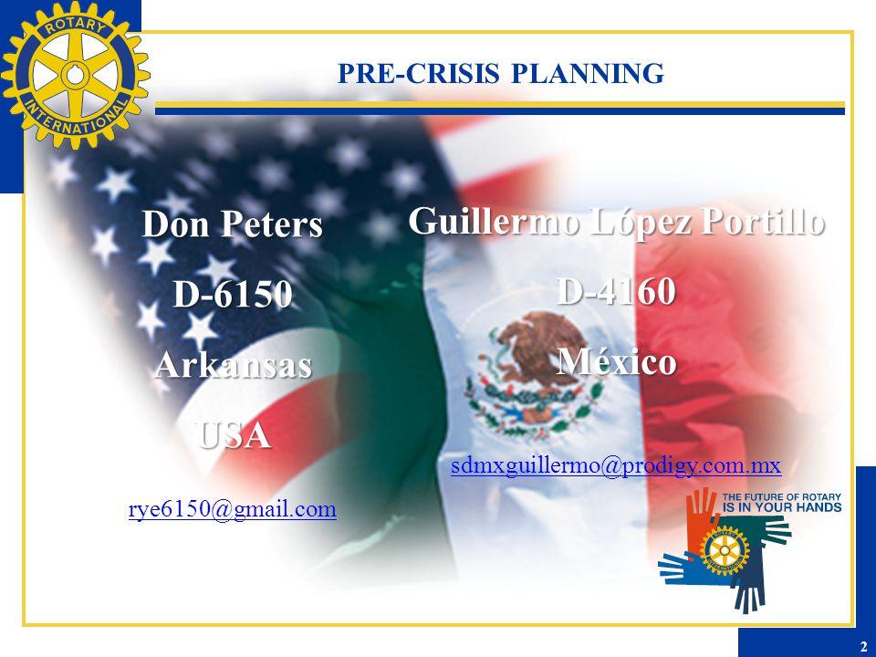 PRE-CRISIS PLANNING Don Peters D-6150ArkansasUSA rye6150@gmail.com Guillermo López Portillo D-4160México sdmxguillermo@prodigy.com.mx 2