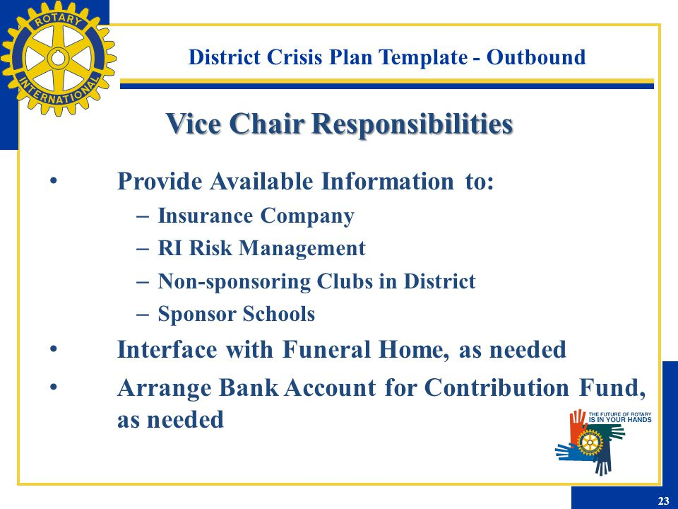 District Crisis Plan Template - Outbound Provide Available Information to: – Insurance Company – RI Risk Management – Non-sponsoring Clubs in District