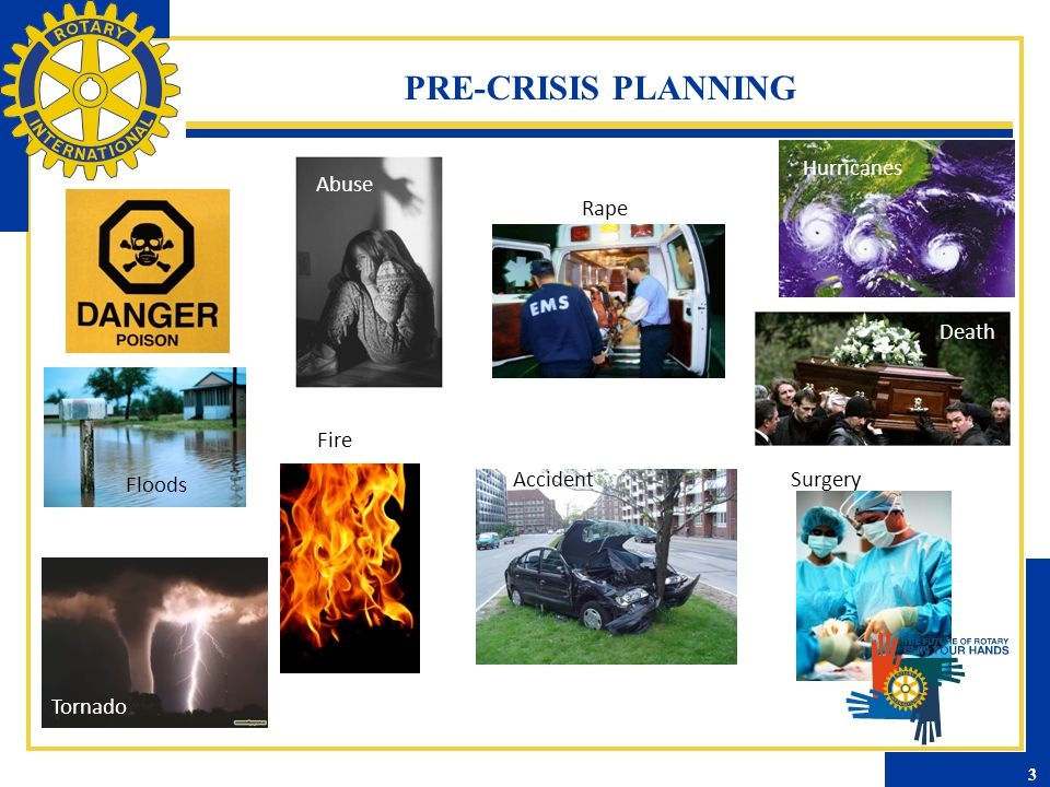 PRE-CRISIS PLANNING Floods Hurricanes Fire Rape Abuse AccidentSurgery Death Tornado 3