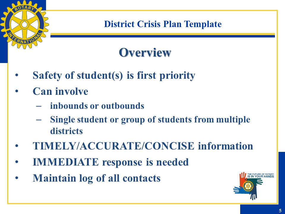 District Crisis Plan Template Overview Safety of student(s) is first priority Can involve – inbounds or outbounds – Single student or group of student