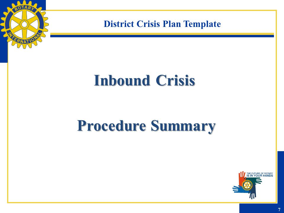 District Crisis Plan Template - Inbound Information Needed by Crisis Team Contact information of Rotarian For each student involved – Name – Date of birth or age – Host club – Home country and sponsoring district – Current location Nature of crisis and any details available Name, phone numbers of officials 8