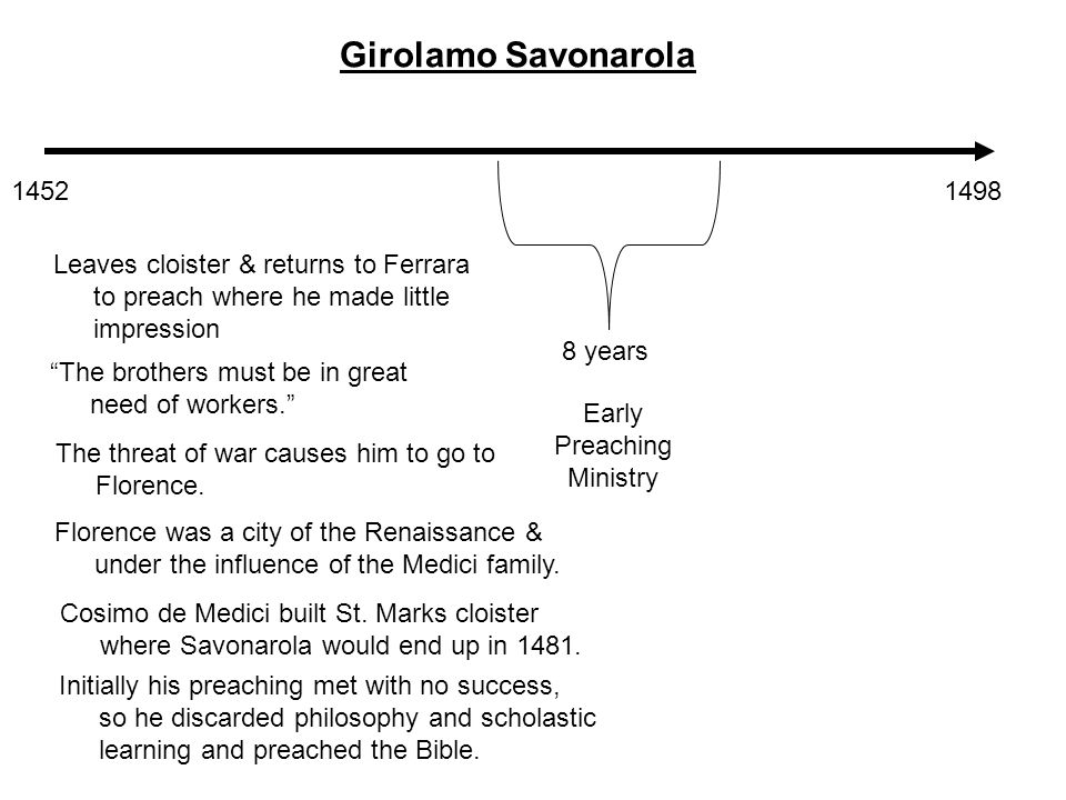 14521498 Girolamo Savonarola 8 years Early Preaching Ministry Leaves cloister & returns to Ferrara to preach where he made little impression The brothers must be in great need of workers. The threat of war causes him to go to Florence.
