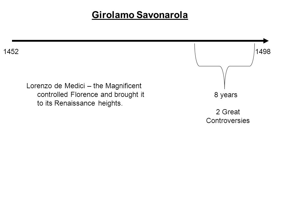 14521498 Girolamo Savonarola 8 years 2 Great Controversies Lorenzo de Medici – the Magnificent controlled Florence and brought it to its Renaissance heights.