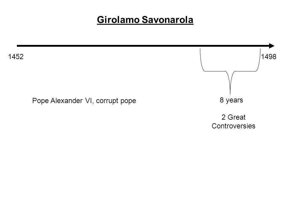 14521498 Girolamo Savonarola 8 years 2 Great Controversies Pope Alexander VI, corrupt pope