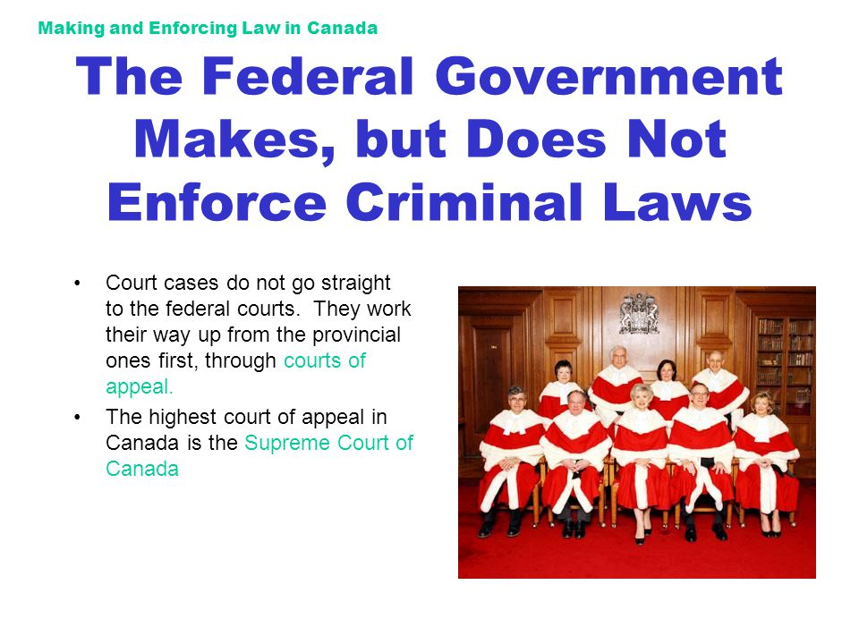 Making and Enforcing Law in Canada The Federal Government Makes, but Does Not Enforce Criminal Laws Court cases do not go straight to the federal courts.