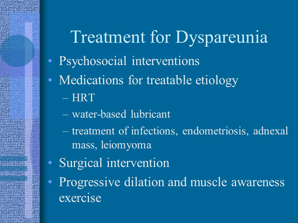 Treatment for Dyspareunia Psychosocial interventions Medications for treatable etiology –HRT –water-based lubricant –treatment of infections, endometr