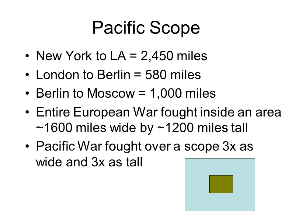 Pacific Scope New York to LA = 2,450 miles London to Berlin = 580 miles Berlin to Moscow = 1,000 miles Entire European War fought inside an area ~1600 miles wide by ~1200 miles tall Pacific War fought over a scope 3x as wide and 3x as tall